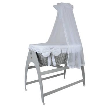 MJ Marks Miranda Grey Wicker Swinging Crib with White Bedding & Drapes