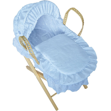 Dolls Moses Basket in Blue with Folding Stand