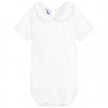 Babidu White Short Sleeved Vest Pink Collar 100% Cotton