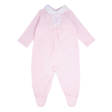 Blues Baby Wear Baby Girls Pink Embroidered Romper