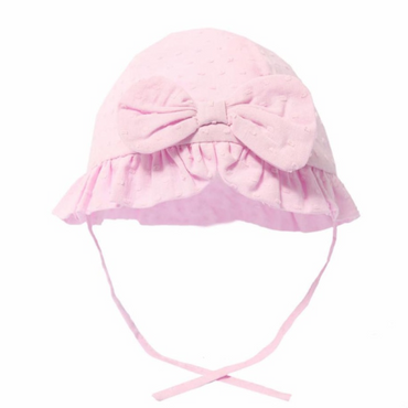 Pink Dotty Summer Hat with Bow and Ties