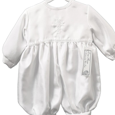 Baby Boys Christening Romper with Embroidered Cross