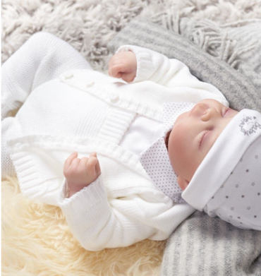 Baby white cable knitted cardigan
