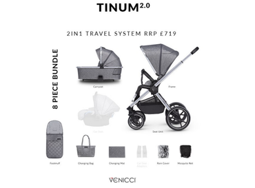 Venicci Tinum 2.0 Rock Graphite 8 Piece Bundle