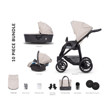 Venicci Shadow Toscana Sand 3 in 1 Travel System - 10 Piece Bundle