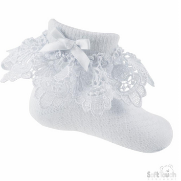 Girls White lace ankle socks