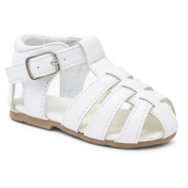 Infant White Sandal Hard Sole first Walking Sandal