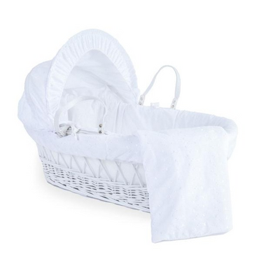 Wicker Moses Basket in Broderie Anglaise By Clair De Lune
