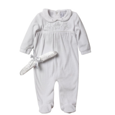 White Velour Sleepsuit Romper with Silver Bears and Stars