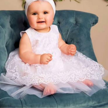 Beau Kids Special Occassion Dress in Ivory and Pink including Headband & Shoes