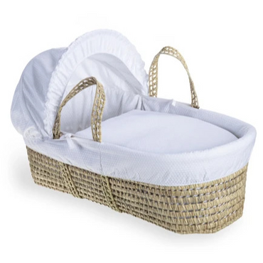 Baby Moses Basket in White Cotton Dreams By Clair De Lune