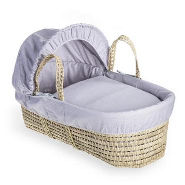 Baby Moses Basket in Grey Cotton Dreams By Clair De Lune