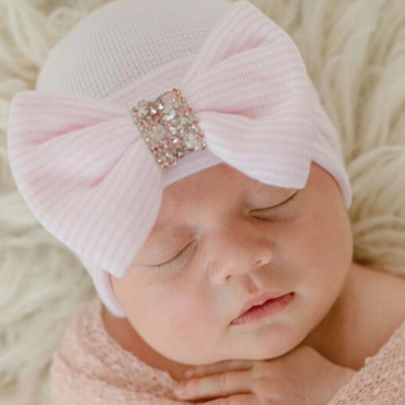 Baby Girls Newborn Hospital Hat - Pink Stripes