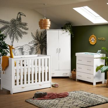 OBaby Nika 3 Piece Room Set in White Wash