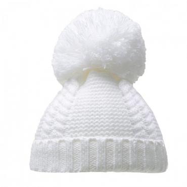 Knitted White Baby Pom Pom Hat