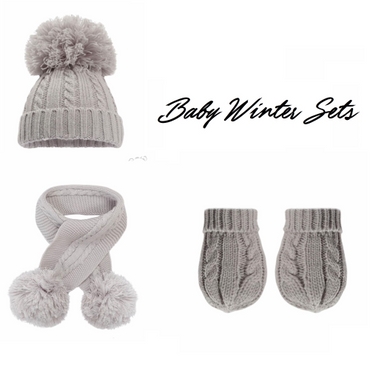 Baby Winter Hat, Scarf and Gloves Set - In Grey