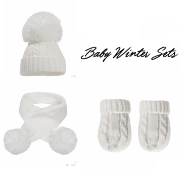 Baby Winter Hat, Scarf and Gloves Set - In White
