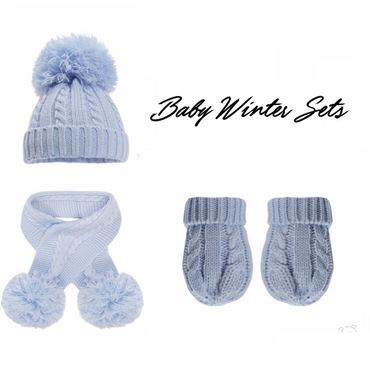 Baby Winter Hat, Scarf and Gloves Set - In Blue