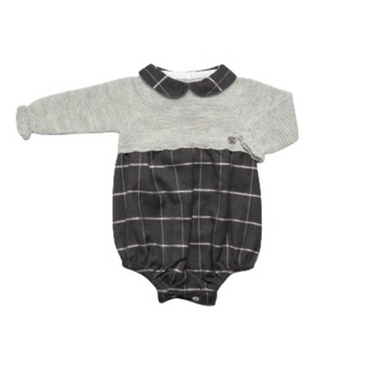 Juliana Grey Checked Knitted Top Romper