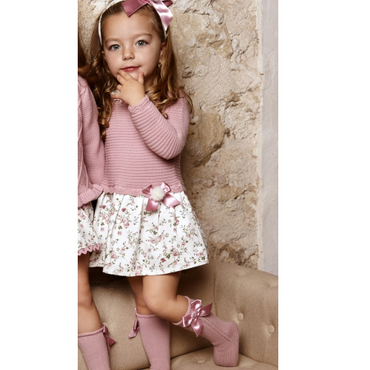 Juliana Dusky Pink Floral Knitted Baby Girls Dress