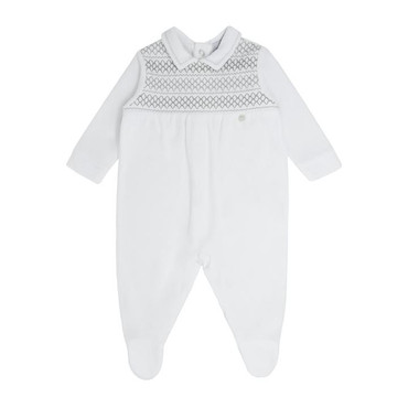 blues baby wear Baby Velour White Romper With Grey Smocking