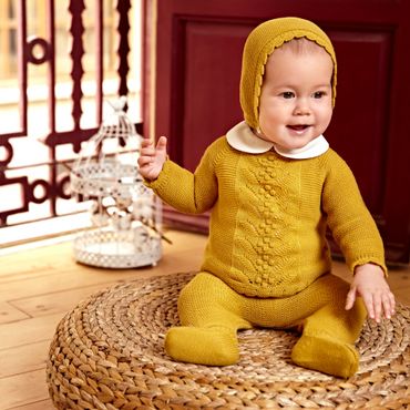 Juliana Cable Knitted Mustard Baby Set