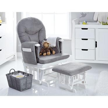 OBaby Reclining Glider Nursery Chair & Stool - White & Grey