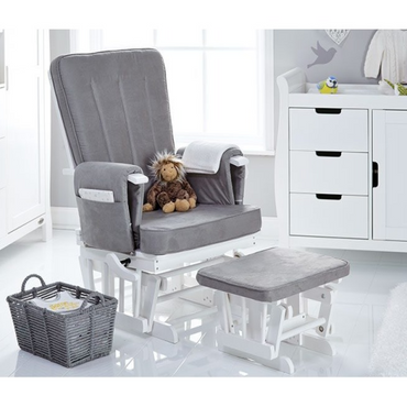 OBaby Deluxe Reclining Glider Nursery Chair & Stool - White & grey