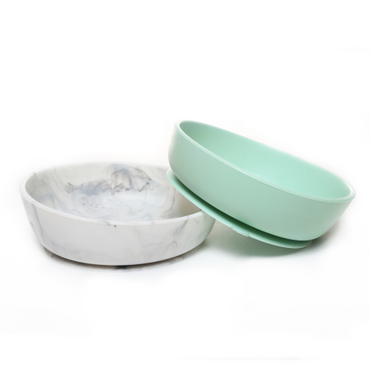 Baby Silcone Suction Bowls Set of 2 - Green & Marble
