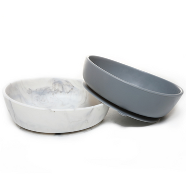 Baby Silcone Suction Bowls Set of 2 - Grey & Marble