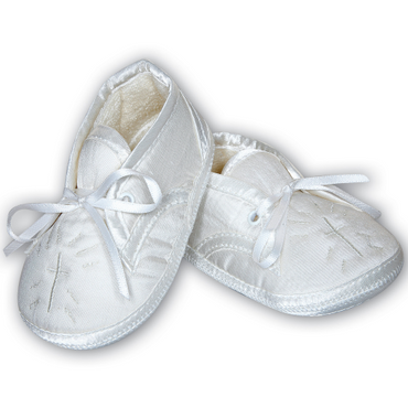 Sarah Louise Christening Shoes White Satin Embroidered Cross