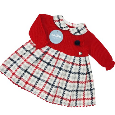 Juliana Baby Girls Red Knitted top Check Dress