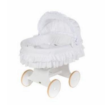 MJ Marks Luna White Wicker Crib with White Bedding