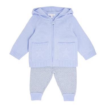 Baby Blue Knit 2 Piece Set Star Jog Set