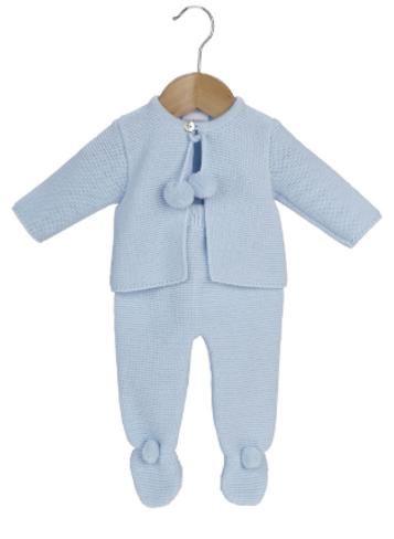 Dandelion clothing knitted pom pom set in blue