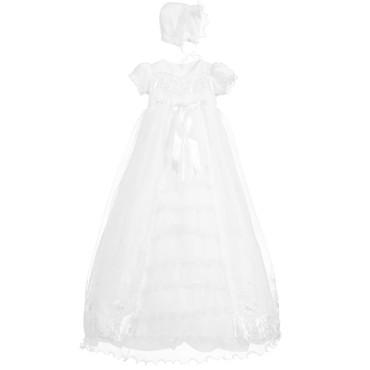 Designer long lace christeningown