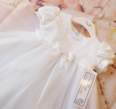 Eva White Long Christening Gown and matching Bonnet