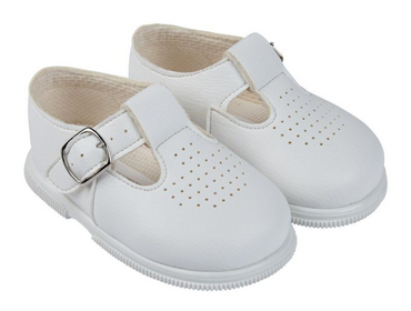 Hard soled baypod white matt finish T bar shoes