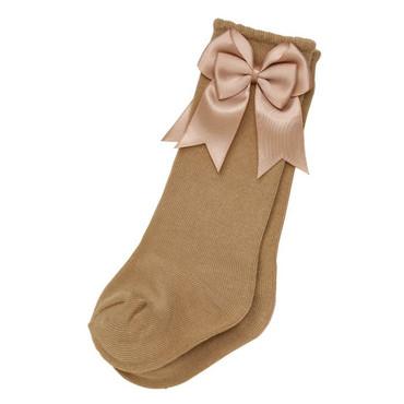 Knee High Baby Camel Bow Socks