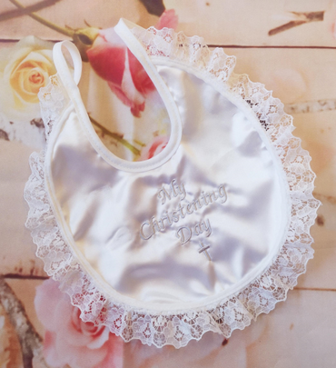 My Christening Day Bib in White Lace
