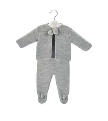 Unisex Baby Dandelion Clothing knitted pom set in Grey