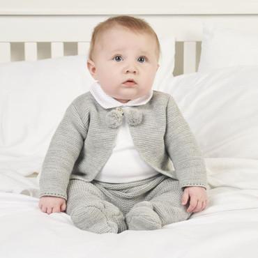 unisex baby 2 piece pom pom set grey