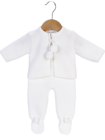 Unisex Baby Dandelion Clothing knitted pom set in white