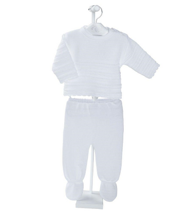 White Knitted Baby 2 Piece Outfit