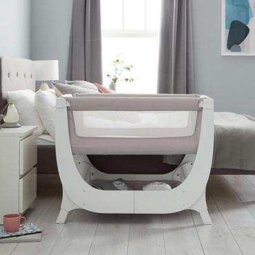 shnuggle air bedside crib grey