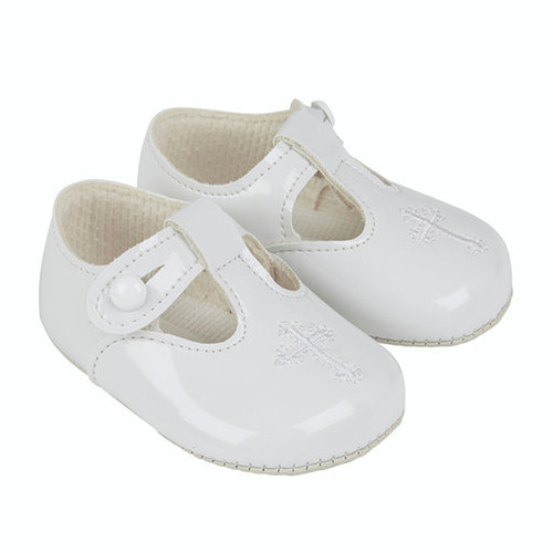christening shoes white embroidered cross