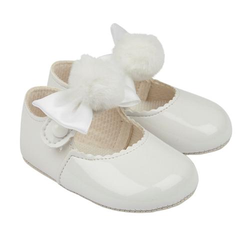 Baby Girls White Bow & Pom Pom Shoes