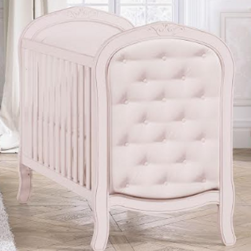 Bebecar Trama Luxury Pink Cot with luxury Chesterfield style upholstery