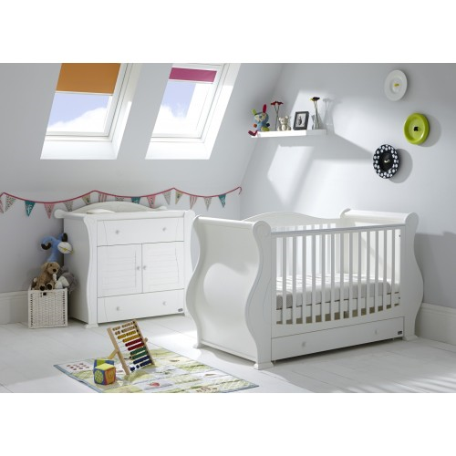 tutti bambini white sleigh bed and dresser