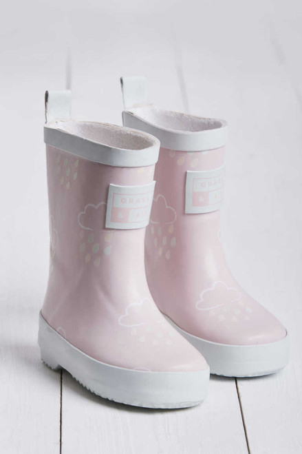 grass and air pink baby wellies
